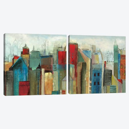 Sunlight City Diptych Canvas Print Set #TOR2HSET003} by Tom Reeves Canvas Art