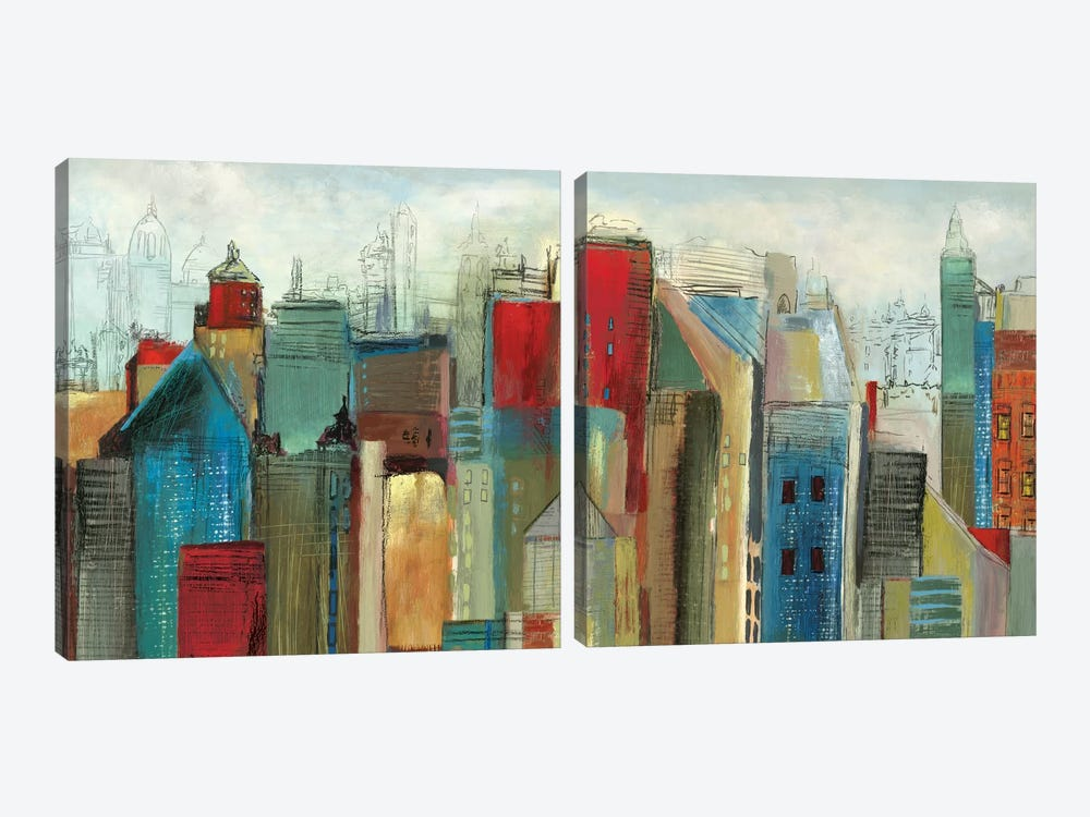 Sunlight City Diptych by Tom Reeves 2-piece Canvas Wall Art