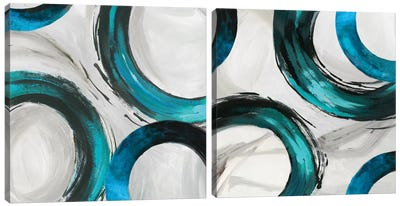 Teal Ring Diptych Canvas Art Print