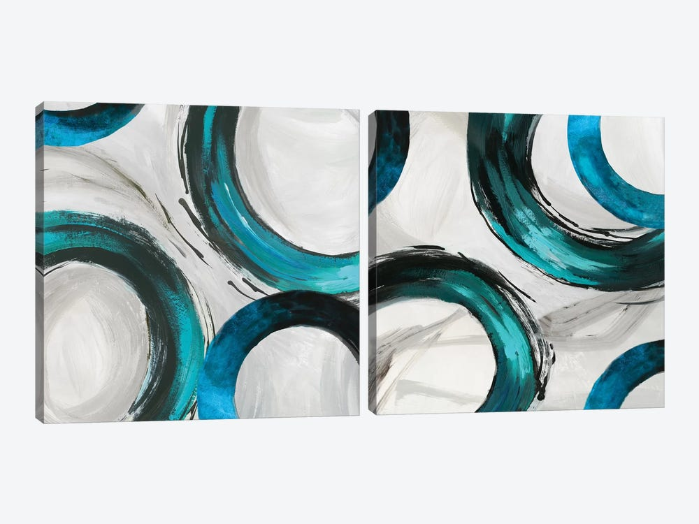 Teal Ring Diptych by Tom Reeves 2-piece Canvas Art Print