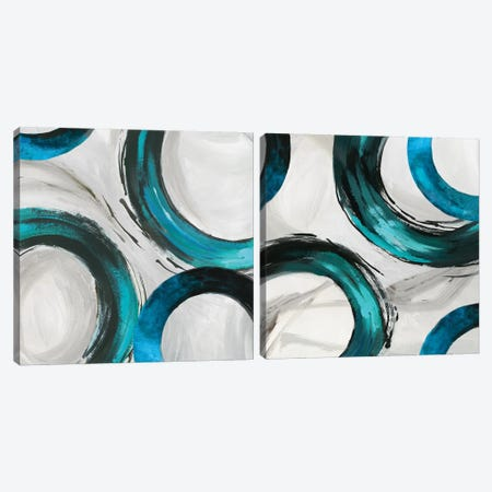 Teal Ring Diptych Canvas Print Set #TOR2HSET004} by Tom Reeves Canvas Print