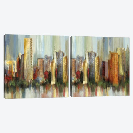 Metropolis Diptych Canvas Print Set #TOR2HSET010} by Tom Reeves Canvas Print