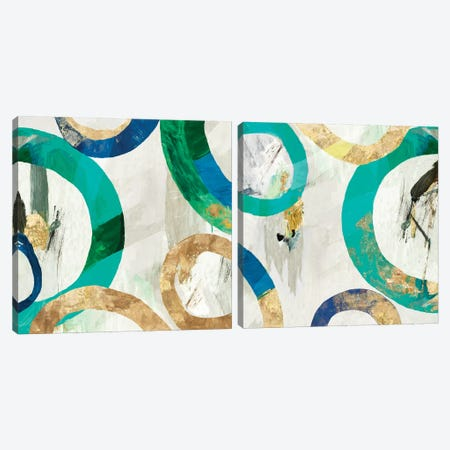 Green Rings Diptych Canvas Print Set #TOR2HSET011} by Tom Reeves Canvas Print