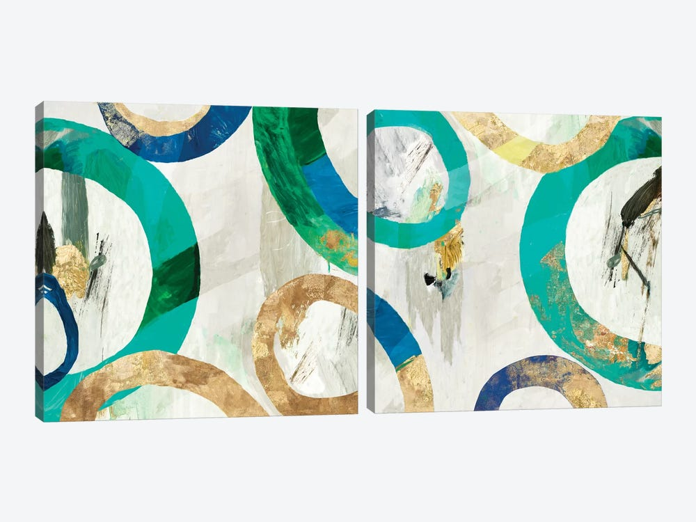 Green Rings Diptych by Tom Reeves 2-piece Canvas Art Print
