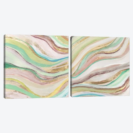 Pastel Waves Diptych Canvas Print Set #TOR2HSET014} by Tom Reeves Canvas Wall Art