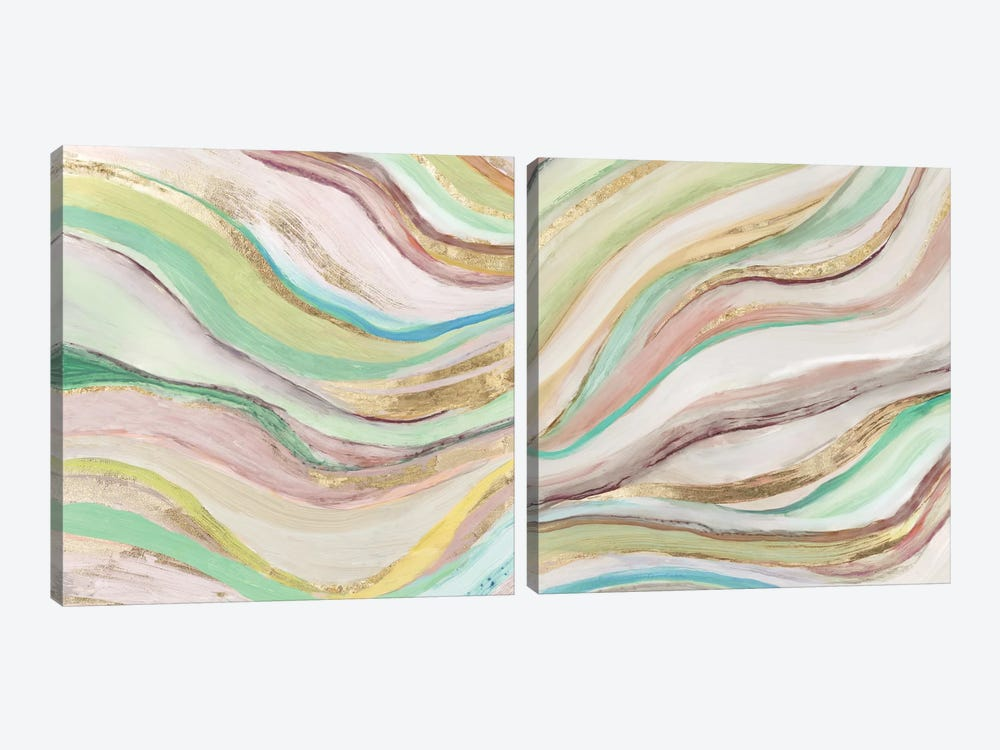 Pastel Waves Diptych by Tom Reeves 2-piece Canvas Art