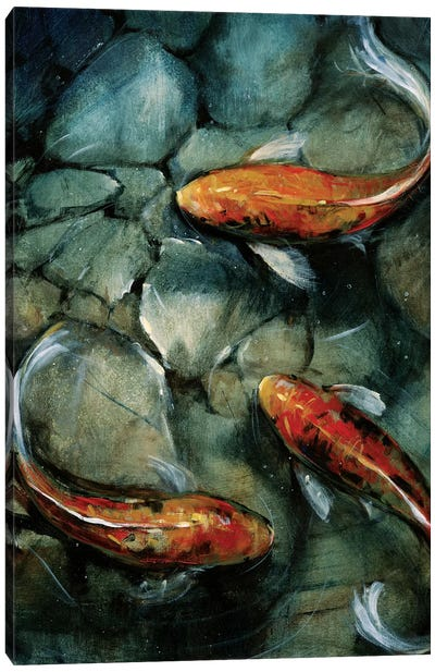 Tres Koi I Canvas Art Print