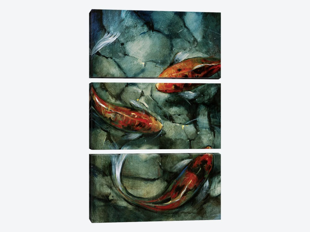 Tres Koi II by Tim OToole 3-piece Canvas Art Print