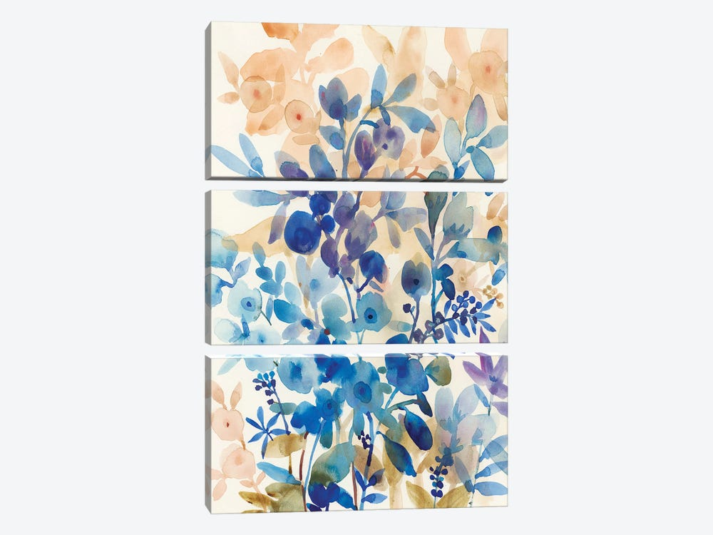 Blueberry Floral I by Tim O'Toole 3-piece Canvas Wall Art