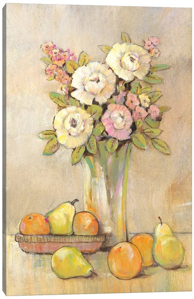Still Life Study Flowers & Fruit I Canvas Art Print