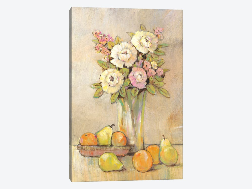 Still Life Study Flowers & Fruit I by Tim OToole 1-piece Canvas Artwork