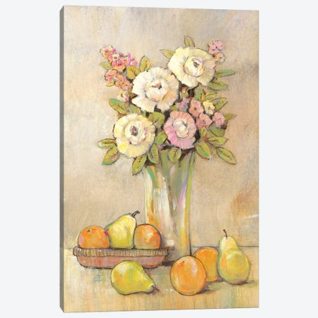 Still Life Study Flowers & Fruit I Canvas Print #TOT226} by Tim OToole Canvas Art