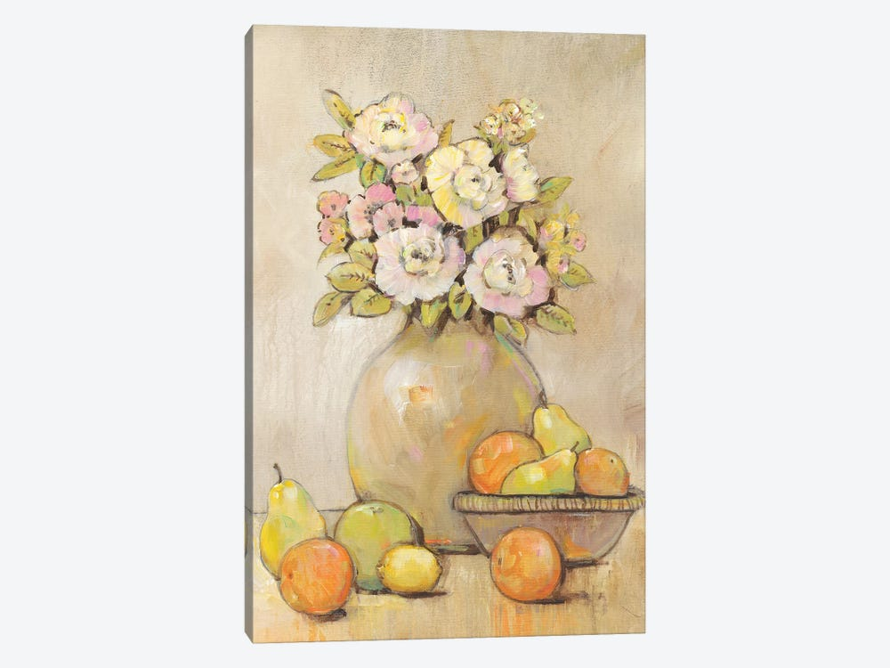 Still Life Study Flowers & Fruit II 1-piece Canvas Print