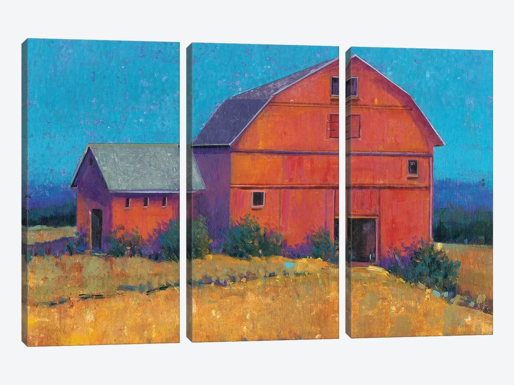 Colorful Barn View I by Tim O'Toole 3-piece Canvas Print