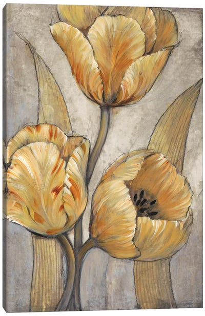 Ochre & Grey Tulips I Canvas Art Print