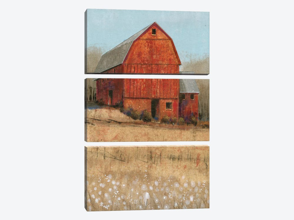 Red Barn View I by Tim O'Toole 3-piece Canvas Wall Art