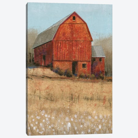 Red Barn View I Canvas Print #TOT262} by Tim OToole Art Print