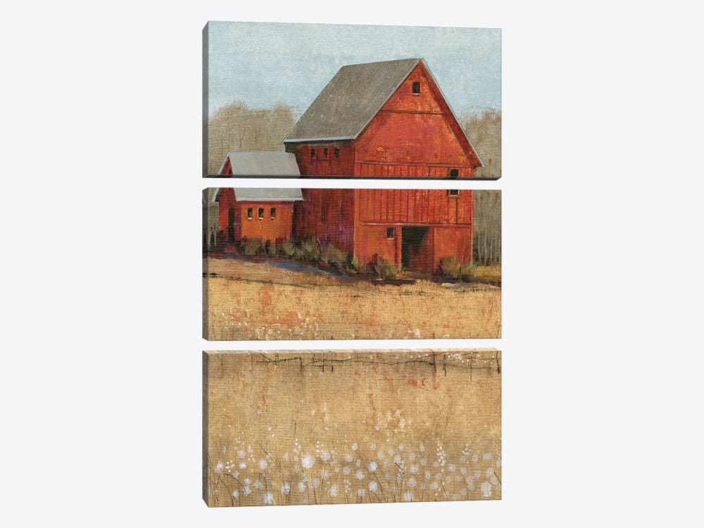 Red Barn View II by Tim O'Toole 3-piece Canvas Art Print