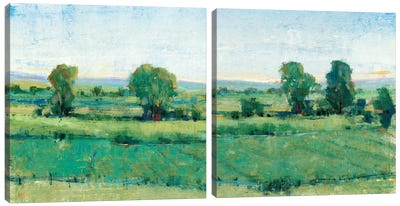 Spring Meadow Diptych Canvas Art Print