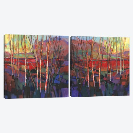 Patchwork Trees Diptych Canvas Print Set #TOT2HSET016} by Tim OToole Canvas Art