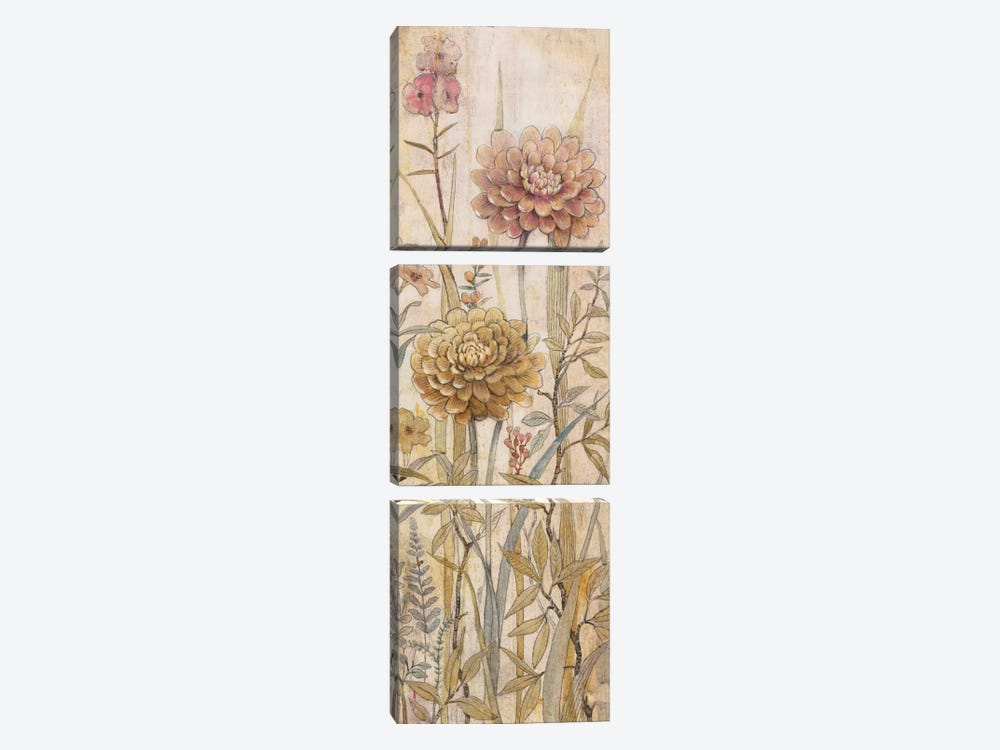 Floral Chinoiserie I by Tim O'Toole 3-piece Canvas Art Print