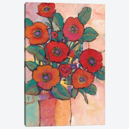 Poppies In A Vase I Canvas Print #TOT446} by Tim OToole Canvas Wall Art
