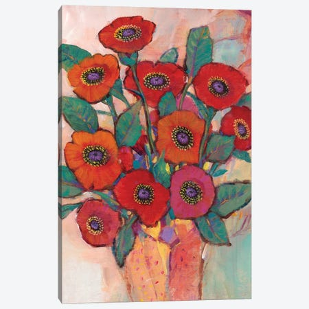 Poppies In A Vase II 3-Piece Canvas #TOT447} by Tim OToole Canvas Wall Art