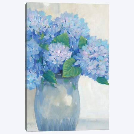 Blue Hydrangeas in Vase I Canvas Print #TOT728} by Tim OToole Canvas Art