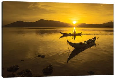 Fishing In Hon Thien Lagoon Canvas Art Print