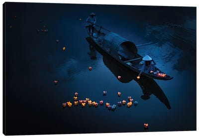 Lighting In River Canvas Art Print