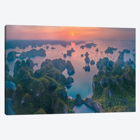 Sunset In Halong Bay Canvas Print #TPH40} by Trung Pham Canvas Artwork