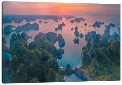 Sunset In Halong Bay Canvas Art Print