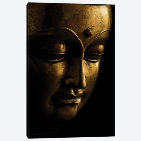 Gold Buddha On Black Canvas Print #TQU111} by Tom Quartermaine Canvas Art Print