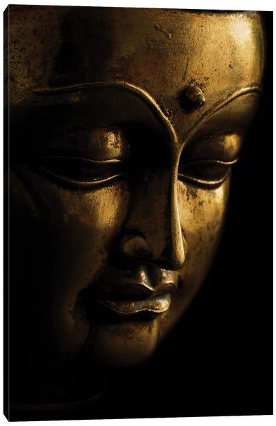 Gold Buddha On Black Canvas Art Print