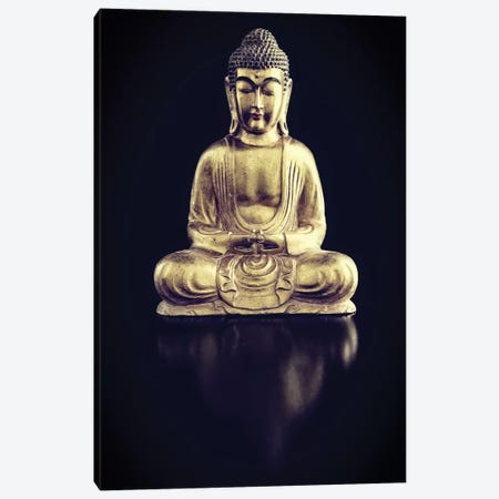 Gold Buddha On Black With Reflection Canvas Print #TQU112} by Tom Quartermaine Canvas Print