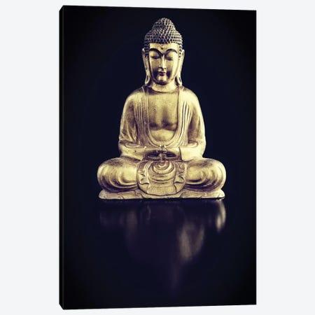 Gold Buddha On Black With Reflection Canvas Print #TQU112} by Tom Quartermaine Canvas Print
