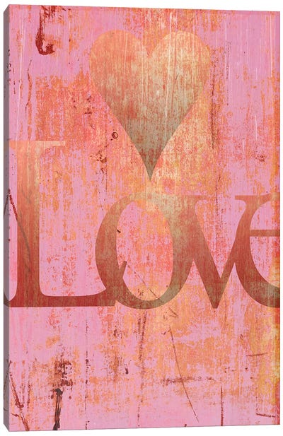 Gold Love And Heart On Pink Canvas Art Print