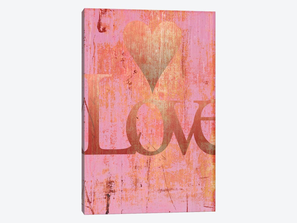 Gold Love And Heart On Pink by Tom Quartermaine 1-piece Canvas Print