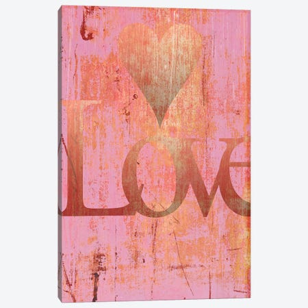 Gold Love And Heart On Pink 3-Piece Canvas #TQU113} by Tom Quartermaine Canvas Print