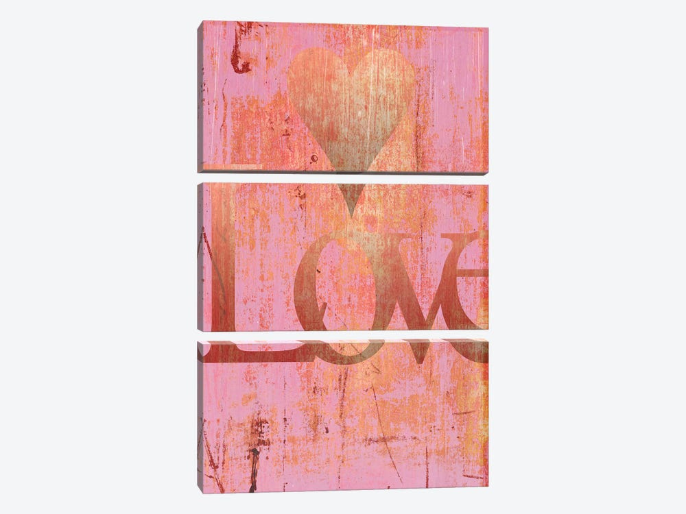 Gold Love And Heart On Pink by Tom Quartermaine 3-piece Art Print