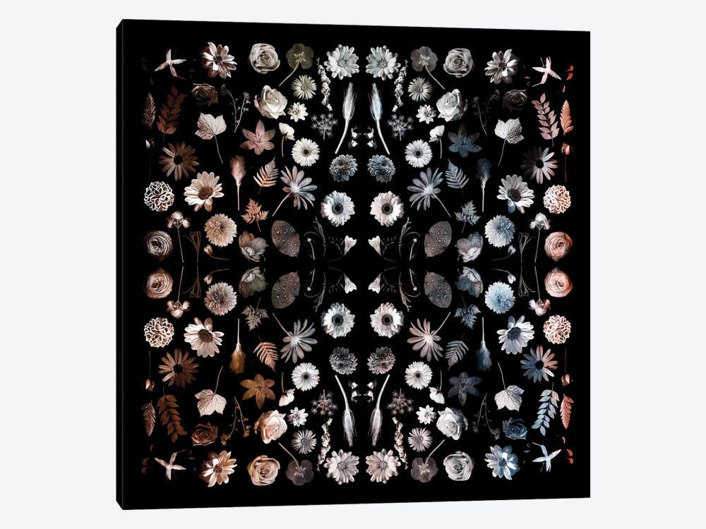 Gorgeous Mirror Of Florals On Black by Tom Quartermaine 1-piece Art Print