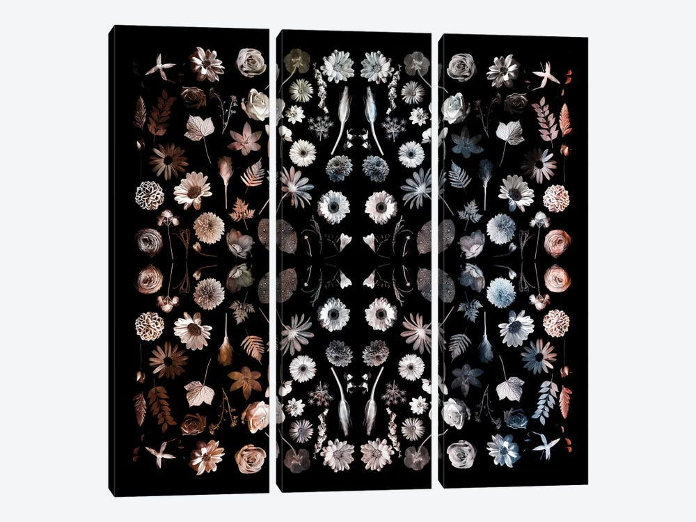 Gorgeous Mirror Of Florals On Black 3-piece Art Print