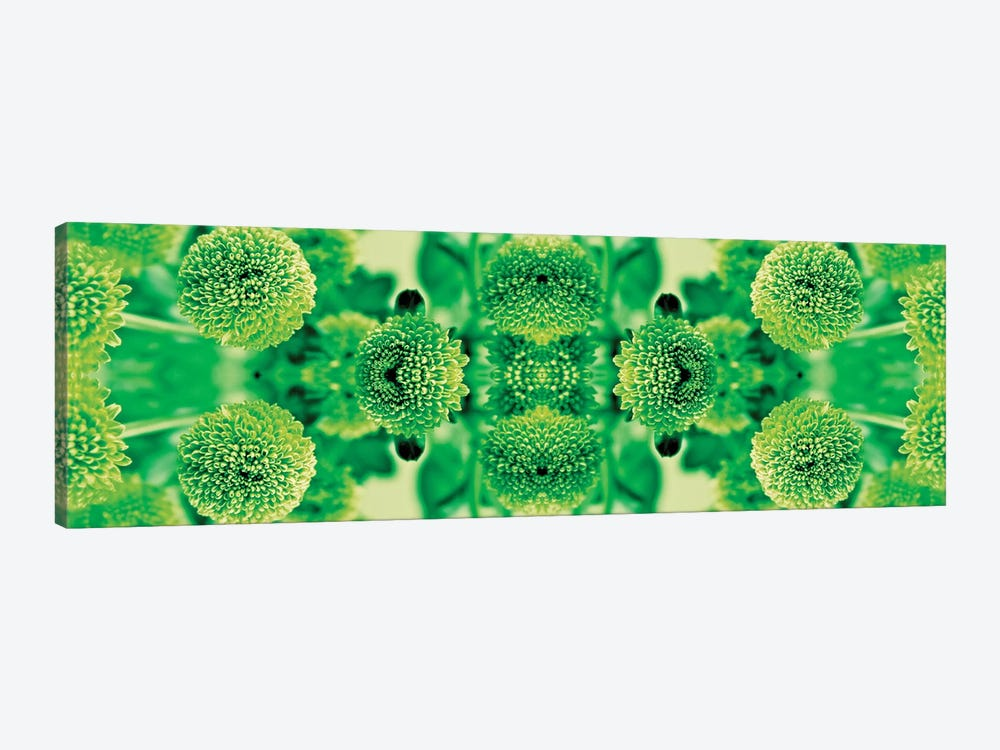 Green Flowers Kaleidoscope Effect by Tom Quartermaine 1-piece Canvas Print
