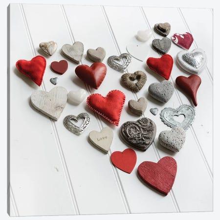 Heart Of Hearts On White Wood Canvas Print #TQU131} by Tom Quartermaine Art Print
