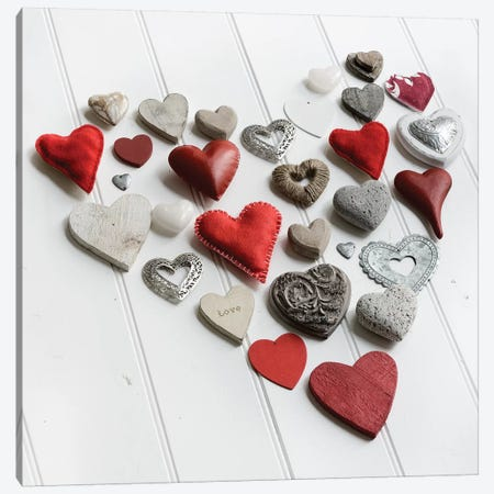 Heart Of Hearts On White Wood Canvas Print #TQU131} by Tom Quartermaine Art Print