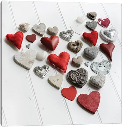 Heart Of Hearts On White Wood Canvas Art Print