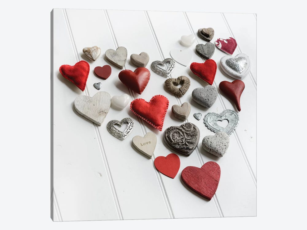 Heart Of Hearts On White Wood by Tom Quartermaine 1-piece Canvas Art Print
