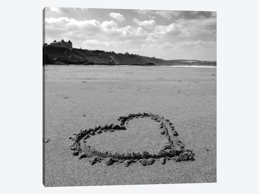 Heart On Beach B&W by Tom Quartermaine 1-piece Canvas Artwork
