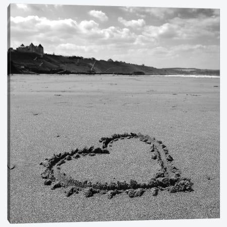 Heart On Beach B&W Canvas Print #TQU134} by Tom Quartermaine Canvas Artwork