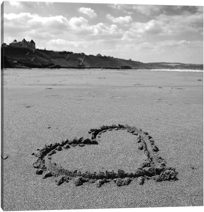 Heart On Beach B&W Canvas Art Print